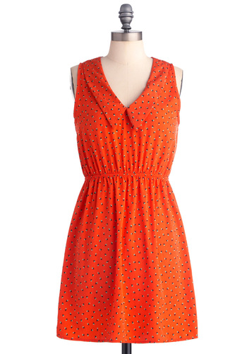 A Budding Star Dress - Mid-length, Orange, White, A-line, Sleeveless, Casual, Vintage Inspired, Black, Floral