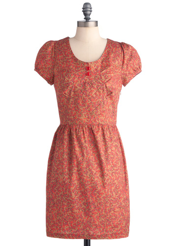 Pop of Pretty Dress by Nümph - Mid-length, Tan / Cream, Print, Buttons, Sheath / Shift, Cap Sleeves, Casual, Multi, Pink, Black