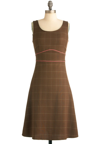 Study On Dress - Vintage Inspired, Brown, Pink, Tan / Cream, Plaid, Trim, Work, A-line, Tank top (2 thick straps), Fall, Long