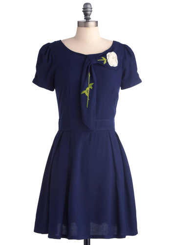 Just Darling Dress - Mid-length, Blue, Green, White, Solid, Embroidery, Flower, Pockets, A-line, Short Sleeves, Fit & Flare