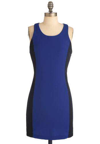 On Your Side Dress - Blue, Black, Backless, Buttons, Party, 80s, Shift, Tank top (2 thick straps), Short, Girls Night Out, Bodycon / Bandage, Colorblocking