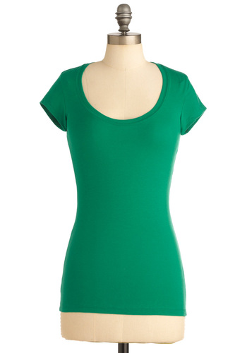 What's the Scoop Neck Tee in Green - Casual, Green, Solid, Short Sleeves, Jersey, Cotton, Mid-length, Scoop, Green, Short Sleeve, WPI