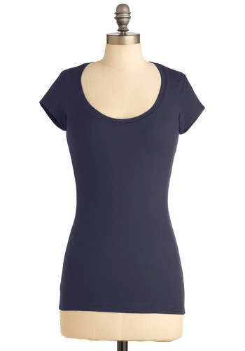 What's the Scoop Neck Tee in Navy - Casual, Blue, Short Sleeves, Solid, Mid-length, Blue, Short Sleeve