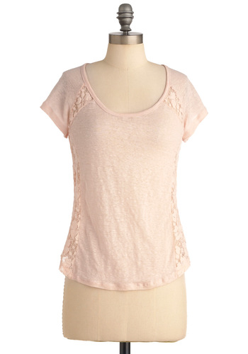 Pastel in Comparison Top - Pink, Solid, Short Sleeves, Casual, Crochet, Spring, Mid-length