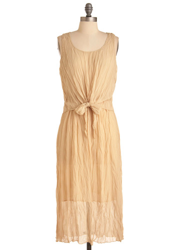 Romantic Poems Dress - Long, Casual, Boho, Cream, Solid, Bows, Sheath / Shift, Sleeveless