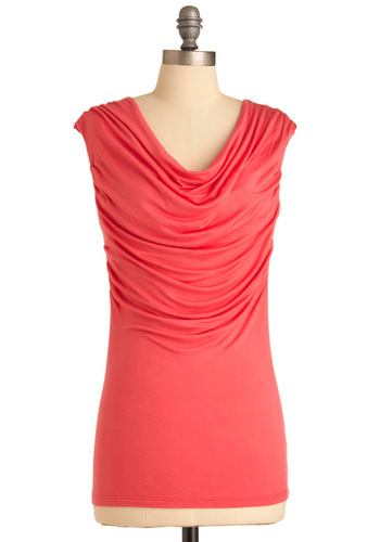 Scoop of Strawberry Top - Casual, Cap Sleeves, Pink, Solid, Spring, Mid-length