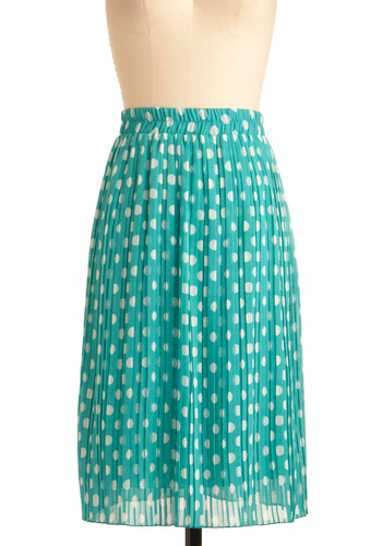 Fro-Yo Enjoyment Skirt - Long, Vintage Inspired, White, Polka Dots, Pleats, Green, Casual, 60s, Spring, Rockabilly