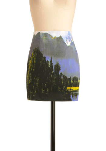 Remember Your Dreamscapes Skirt in Blue by Motel - Short, Statement, Exposed zipper, Multi, Green, Blue, White, Print