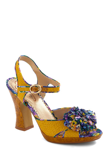 Basket of Blossoms Heel by Poetic License - Vintage Inspired, Yellow, Purple, Multi, Floral, Buckles, Flower, Wedding, Party