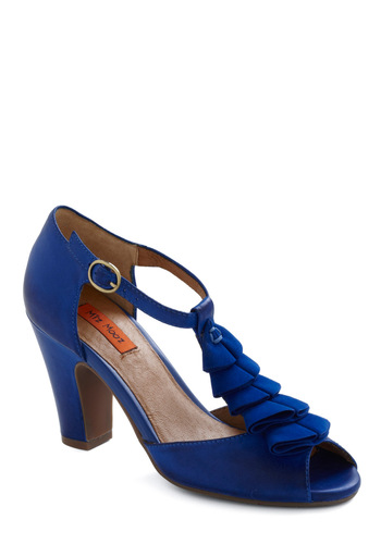 I Adore Blue Heel by Miz Mooz - Blue, Solid, Ruffles, Special Occasion, Wedding, Party