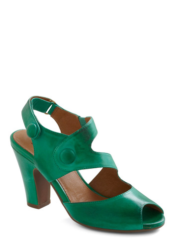 Trendy Trotting Heel by Miz Mooz - Green, Solid, Buttons, Party, Leather, Peep Toe, Mid