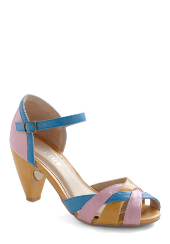 Sweet on Sweets Heel by Chelsea Crew - Buckles, Party, Spring, Peep Toe, Mid, Multi