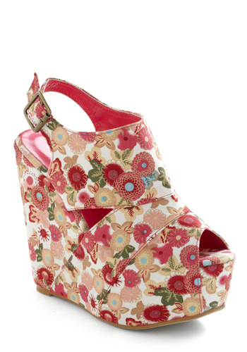 Flower Patch Kids Wedge - Vintage Inspired, 60s, 70s, Green, Blue, Tan / Cream, White, Floral, Buckles, Cutout, Multi, Red, Pink, Wedge