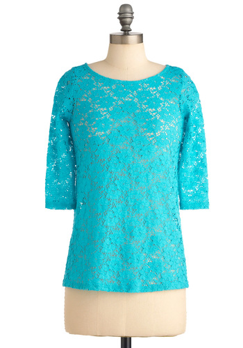 Putt Could Be Better? Top - Mid-length, Blue, Solid, Lace, Casual, 3/4 Sleeve, Spring