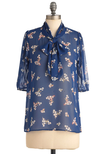 Des Colores Top in Sheer Blossoms - Mid-length, Work, Blue, Red, Yellow, White, Floral, Bows, 3/4 Sleeve, Tie Neck, Sheer
