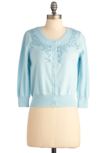 Rainy Day Romance Cardigan - Short, Blue, Solid, Beads, Buttons, Work, 3/4 Sleeve, Spring