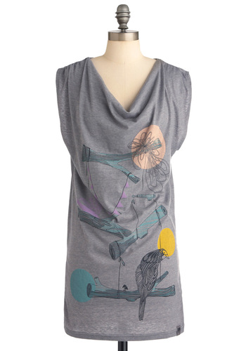 Crafted Company Tunic by Nümph - Casual, Grey, Multi, Sleeveless, Print, Long