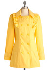 When Life Gives You Rain Coat by Tulle Clothing - Long, Yellow, Solid, Buttons, Pockets, Ruffles, Long Sleeve, Spring, 1.5