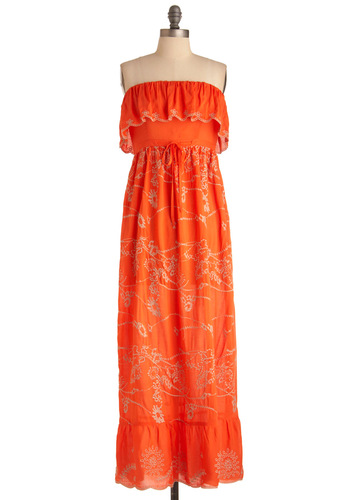 Playa It Cool Dress - Long, Casual, Boho, Orange, Tan / Cream, Floral, Embroidery, Ruffles, Maxi, Strapless, Summer