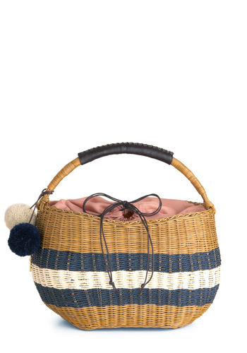 Pom Away with Me Bag - Brown, Blue, White, Stripes, Poms, Casual, Summer