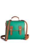 Find Me in the Pub Satchel - Vintage Inspired, Green, Brown, Buckles, Work