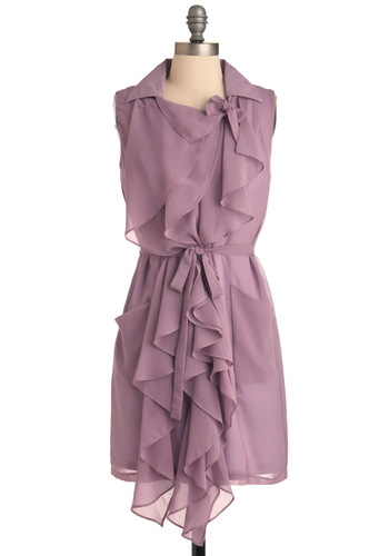 Lilac But Not Least Dress - Mid-length, Purple, Solid, Pockets, Ruffles, Party, Shift, Sleeveless, Spring