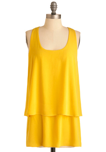 Copa Banana Tunic - Long, Casual, Yellow, Solid, Tiered, Racerback, Summer