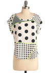Pop Chart Top - Mid-length, Casual, Vintage Inspired, 80s, White, Green, Polka Dots, Exposed zipper, Short Sleeves, Black