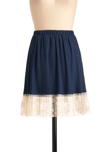 Blueberry A La Mode Skirt - Short, Blue, White, Lace, Pleats, Solid, Casual