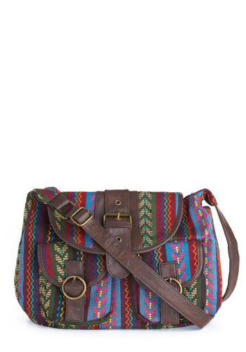 Packy Sack Bag - Casual, Boho, Multi, Brown, Buckles, Pockets, Print, Embroidery, Faux Leather