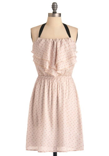A Date at the Beach Dress - Mid-length, Casual, Black, Polka Dots, Ruffles, Halter, Cream, Tan / Cream, Tiered, Pastel, Sheer, A-line