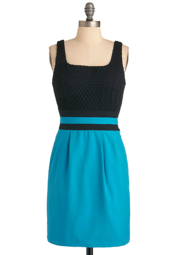 Moonlight Over Midtown Dress - Mid-length, Blue, Black, Sheath / Shift, Tank top (2 thick straps), Urban
