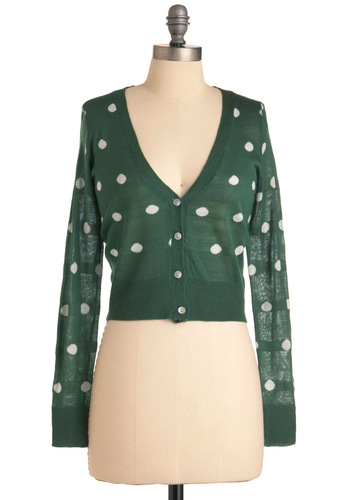 When Irish Eyes Are Stylin' Cardigan - Short, Casual, Green, White, Polka Dots, Buttons, Long Sleeve