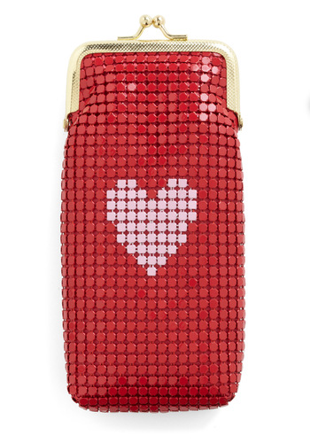 First in Glasses Case in Haute Heart - Red, Pink, Gold, Travel