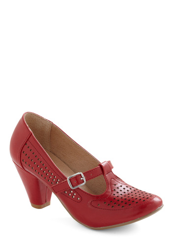 Back to Square Fun Heel in Red - Red, Solid, Buckles, Cutout, Work