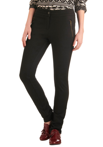 Dress and Go Pant - Long, Black, Solid, Buttons, Exposed zipper, Pockets, Casual