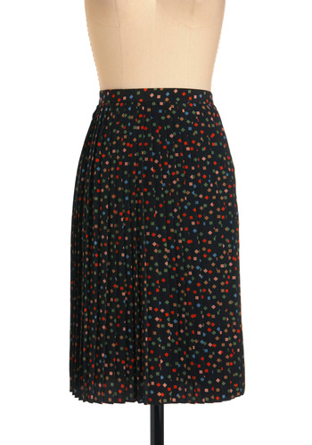 Meet in the Square Skirt - Mid-length, Multi, Print, Pleats, Red, Yellow, Blue, Black