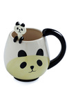 Panda Fancy Mug Set - White, Tan / Cream, Casual, Black, Work, Kawaii