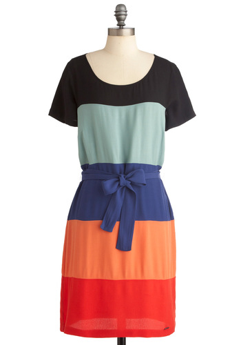 Sunset to Sunrise Dress by Nümph - Mid-length, Bows, Short Sleeves, Multi, Red, Orange, Blue, Black, Work, Sheath / Shift