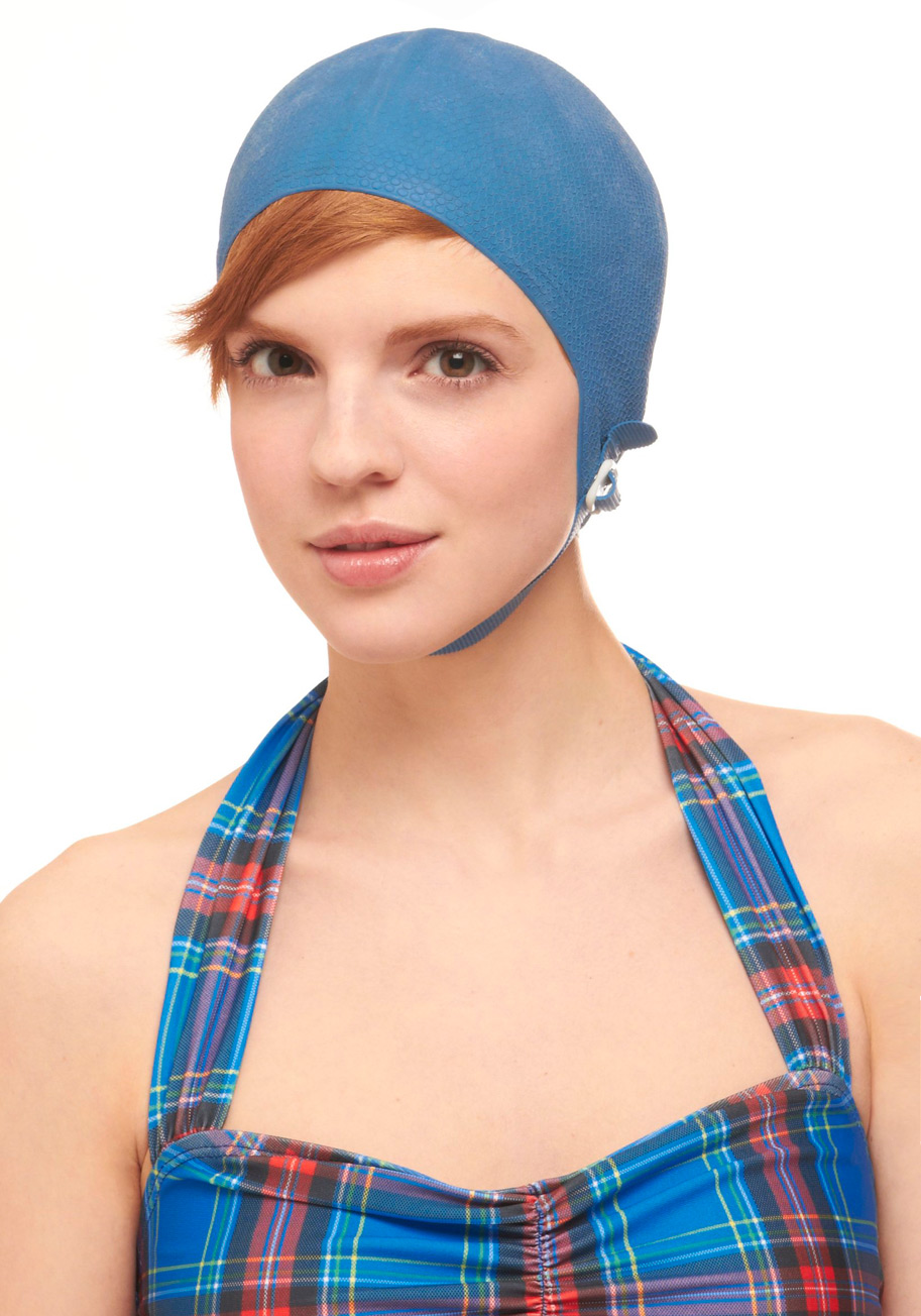 Vintage Diving Me Wild Swim Cap in Blue | Mod Retro Vintage Vintage Clothes | ModCloth.com