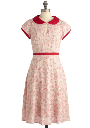Elegant Invitation Dress - Long, Pink, Floral, Peter Pan Collar, Pleats, A-line, Cap Sleeves, Vintage Inspired, Red, 50s, Spring