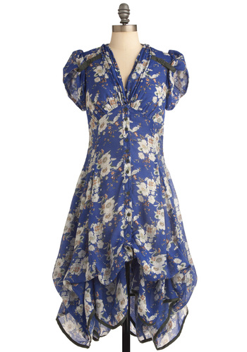Studio Sweetheart Dress in Blue - Long, Blue, Floral, Buttons, Sheath / Shift, Cap Sleeves, Casual, Vintage Inspired, Multi, Green, Brown, Tan / Cream