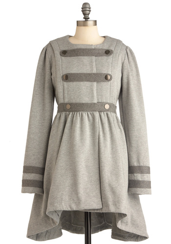 A Majorette Award Coat - Long, Grey, Solid, Buttons, Long Sleeve, Military, Pockets, Ruffles, 2