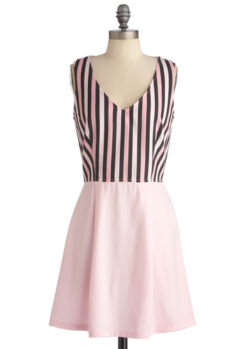 Cotton Candy Striper Dress - Pink, Stripes, A-line, Twofer, Sleeveless, Casual, Short, Black, Mini, Spring