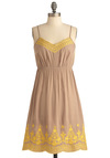 Maize-y Days of Summer Dress - Mid-length, Casual, Boho, Tan, Yellow, Floral, Embroidery, A-line, Spaghetti Straps, Summer