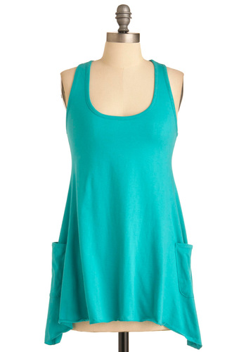 Trapeze-y Going Tank in Green - Long, Green, Solid, Pockets, Racerback, Casual, Urban, Summer, Travel