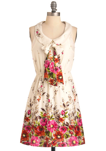 Romance Author Dress - Mid-length, Floral, Peter Pan Collar, A-line, Sleeveless, Casual, Cream, Multi, Red, Orange, Green, Pink, Brown, Spring, Tie Neck, Collared