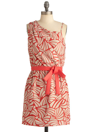 Seashell Arrangement Dress - Mid-length, Print, Bows, Pleats, Sheath / Shift, One Shoulder, Orange, Tan / Cream, Party