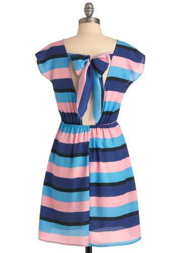 Get Back To Me Dress - Mid-length, Stripes, Bows, Cutout, Short Sleeves, Casual, Multi, Blue, Pink, Black