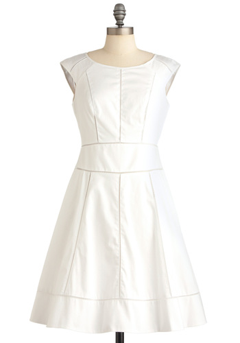 Fame, Set, Match Dress - White, Tan / Cream, Solid, A-line, Cap Sleeves, Luxe, Cutout, Spring, Mid-length